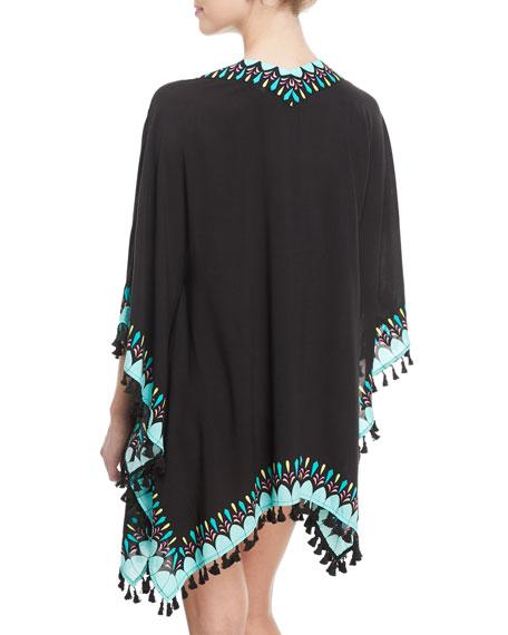 Sunburst Printed Kimono Coverup w/ Tassel Trim, One Size