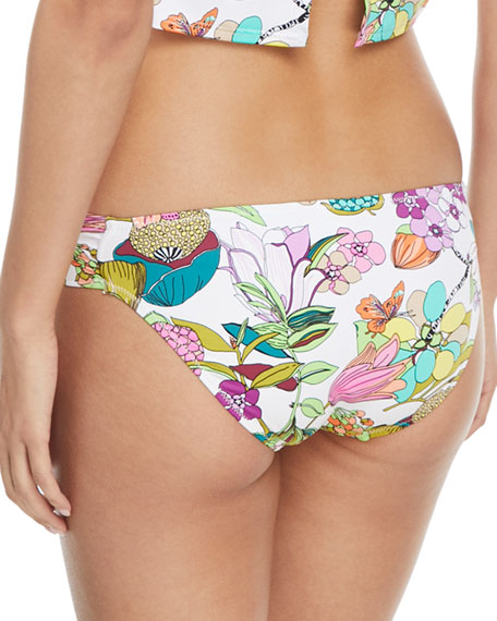 Key West Botanical-Print Shirred-Side Hipster Swim Bikini Bottoms