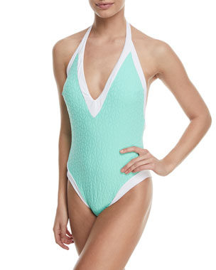 ef7500936dde Trina Turk Sunshine Jacquard V-Plunge One-Piece Swimsuit