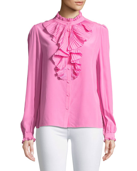 Tacco Button-Front Long-Sleeve Silk Blouse with Pleated Ruffles