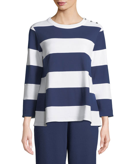 Striped Pullover Top, Petite