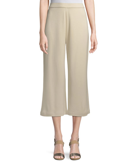 Joan Vass Cropped Cotton Interlock Pants, Petite