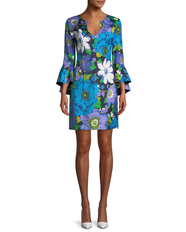 Bell Sleeve Dress | Neiman Marcus