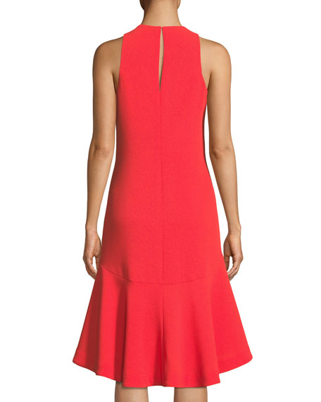 Keyhole High-Low Petal Sleeveless Dress