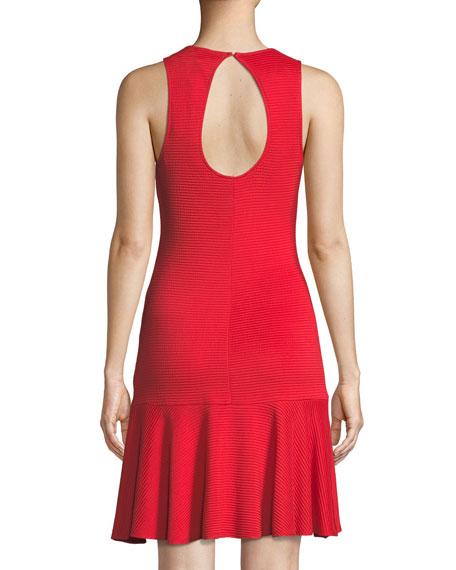 Fantastic Knit Open-Back Flounce-Hem Dress