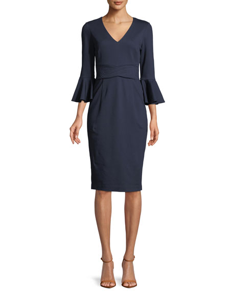 Trina Turk Begonia Ponte Trapunto-Stitch Bell-Sleeve Dress