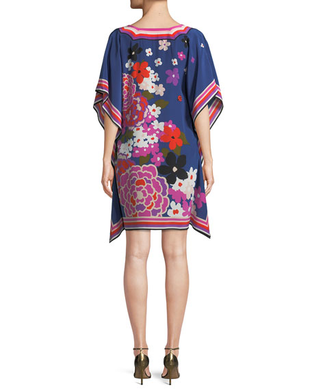 Theodora Greenhouse Floral Silk Kaftan Dress