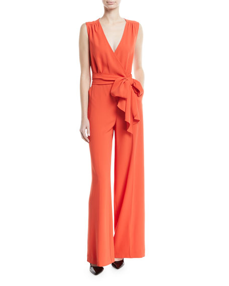Trina Turk Tiger Lily V-Neck Wide-Leg Jumpsuit