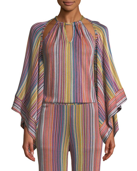 Trina Turk Exquisite Daybreak Stripe-Knit Open Jacket