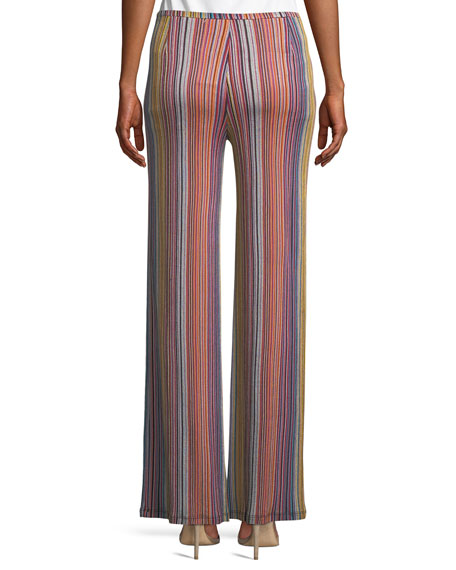 Penelope Daybreak Stripe-Knit Wide-Leg Pants