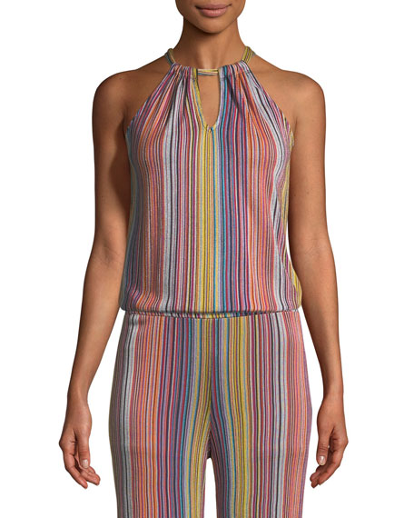 Amirah Daybreak Stripe-Knit Halter Top