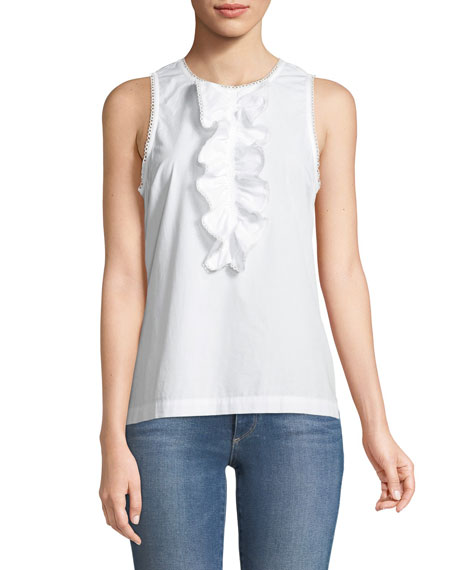 Evergreen Cotton Shirting Ruffle Tank Top