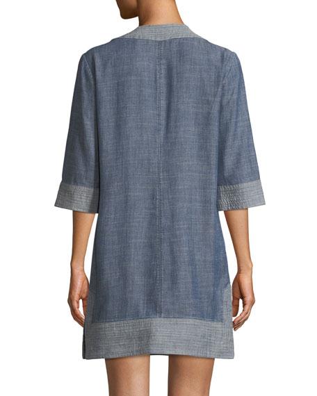 Carnelian Chambray V-Neck Mini Dress