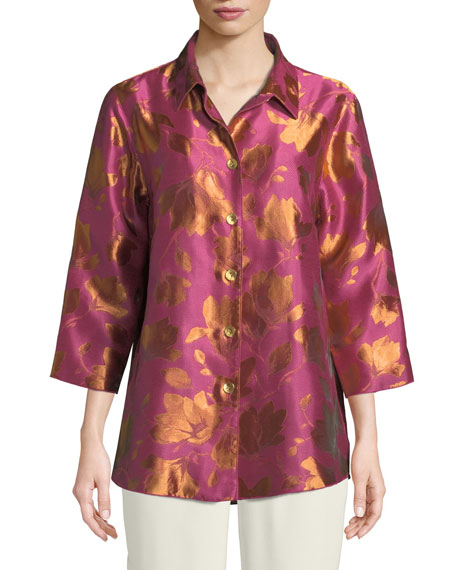 Summer Social Jacquard Cocktail Shirt, Plus Size