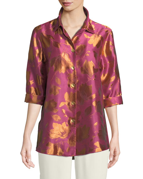 Caroline Rose Summer Social Jacquard Cocktail Shirt, Plus