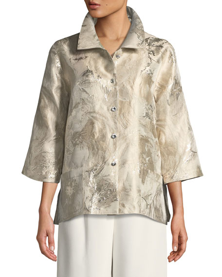 Caroline Rose Sitting Pretty Jacquard Occasion Shirt, Plus