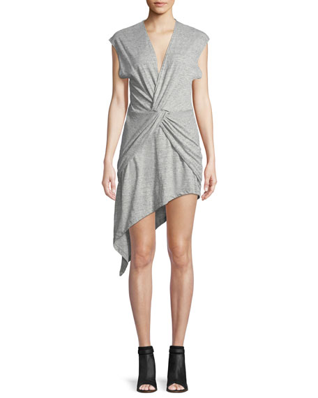 Bamava V-Neck Twisted Jersey Dress with Asymmetric Hem