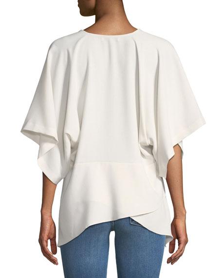 Ekala V-Neck Bell-Sleeve Crepe Top