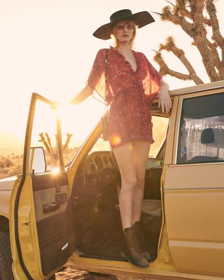 Bamanta Half-Sleeve Paisley-Print Short Dress