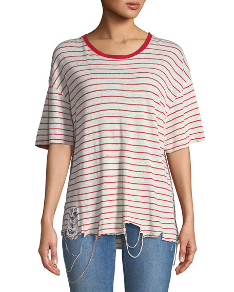 Iro Conah Frayed Short-Sleeve Striped Linen Top