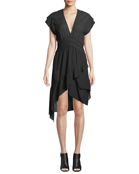 Foroura Deep-V Cap-Sleeve Dress