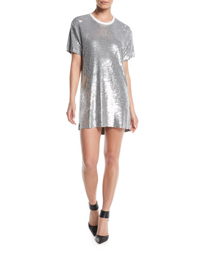 Nabara Crewneck Short-Sleeve Sequined Dress