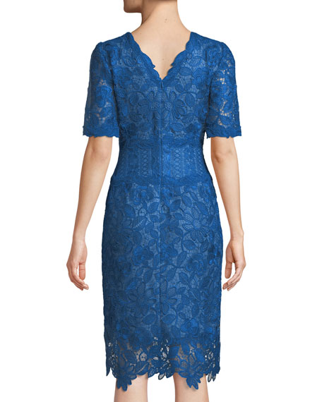 Scalloped V-Neck Lace Cocktail Dress