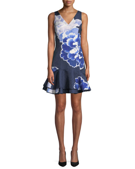 Josie Natori Floral V-Neck Ruffle-Hem Mini Dress