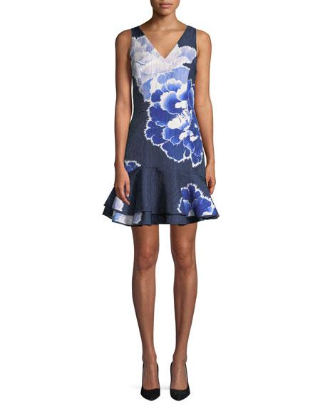 Floral V-Neck Ruffle-Hem Mini Dress