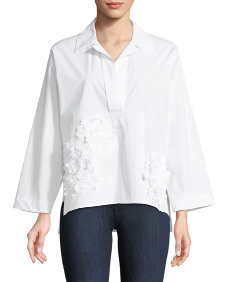 Josie Natori 3D Embroidery Collared Shirt and Matching