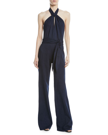 Josie Natori Denim Halter Wide-Leg Jumpsuit