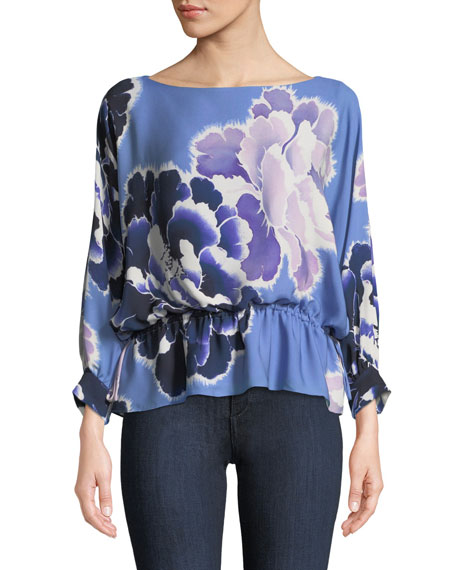 Josie Natori New Poet Floral Peplum Blouse and