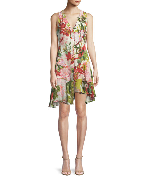 Floral-Print Sleeveless Shift Dress