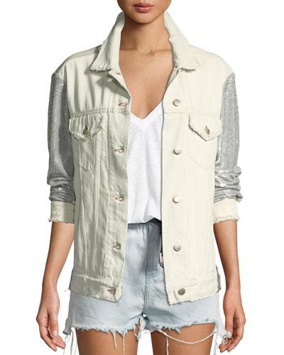 Nanopo Frayed Sequined Denim Jacket