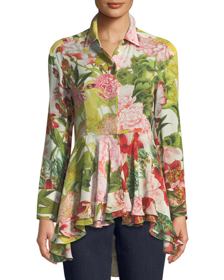 Josie Natori High-Low Collared Long-Sleeve Top