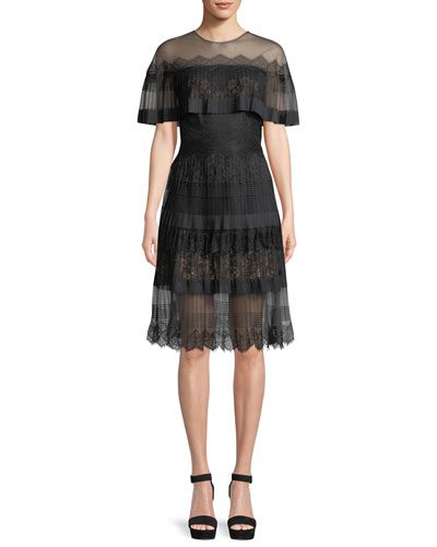 Illusion A-Line Cocktail Dress w/ Pleated Cape