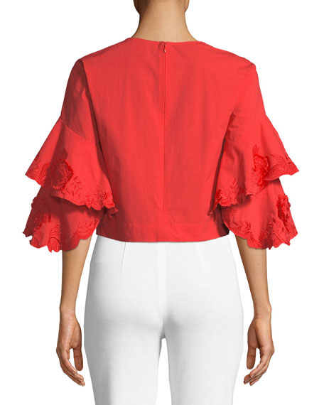 Tiered-Sleeve Hip-Length Top