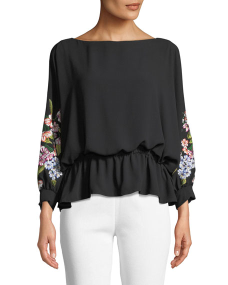 New Poet Floral Embroidery Blouson Top