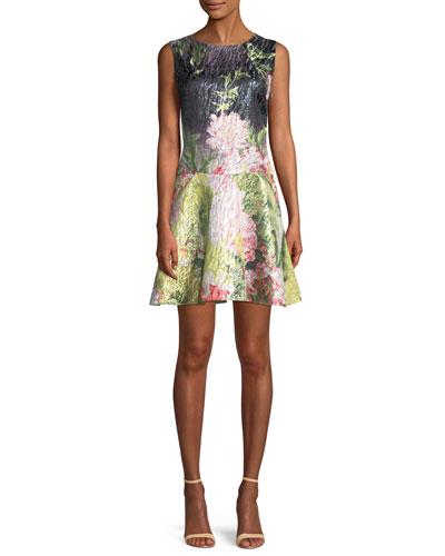 Ruffle-Hem Sleeveless Floral Matelasse Mini Dress