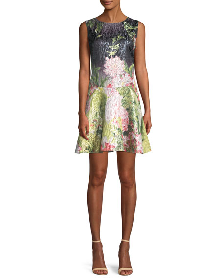 Josie Natori Ruffle-Hem Sleeveless Floral Matelasse Mini Dress