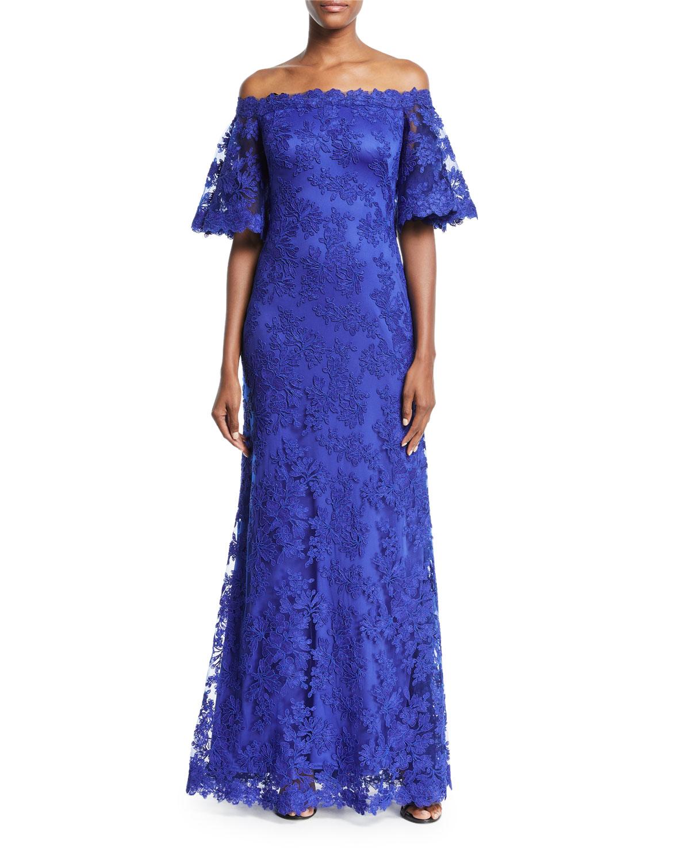 Tadashi Shoji Lace Off-the-Shoulder Long Gown | Neiman Marcus