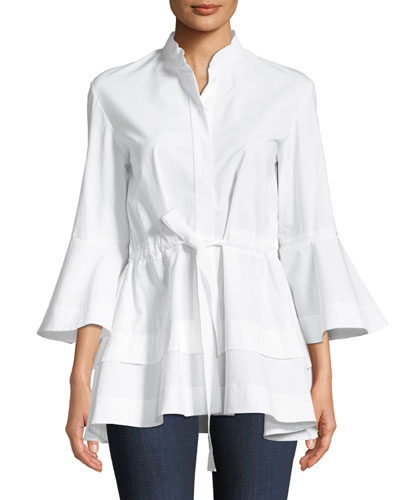 Lantern-Sleeve Self-Tie Cotton Shirt