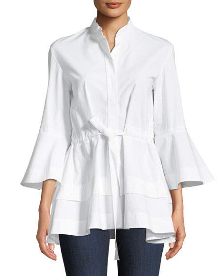 Lantern-Sleeve Self-Tie Cotton Shirt
