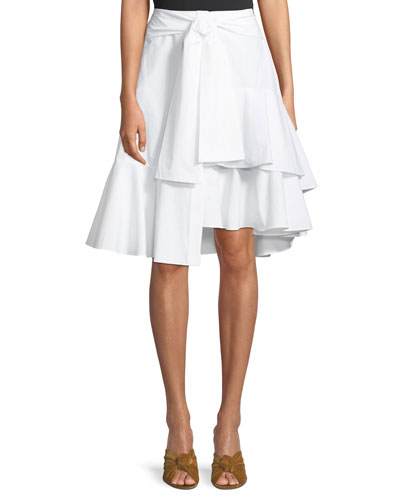 Tie-Front Asymmetric Skirt