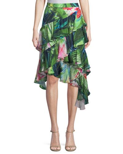 Sunset Palms Tiered Skirt
