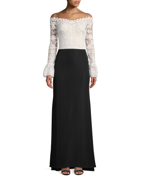 Tadashi Shoji Crochet-Lace Bell-Sleeve Crepe Gown