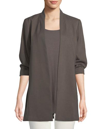 3/4-Sleeve Draped Long Jacket