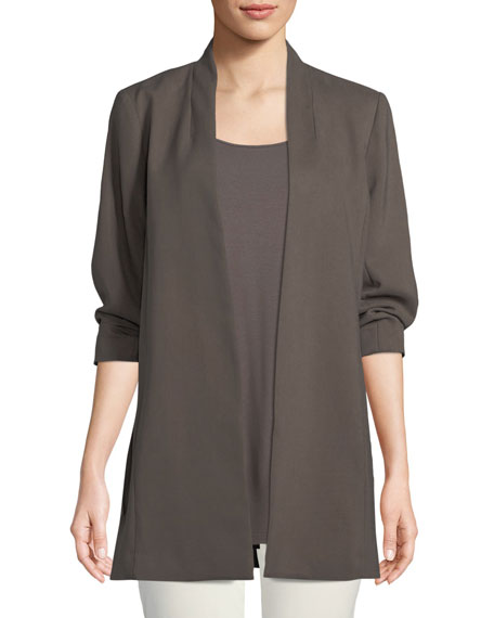 Eileen Fisher 3/4-Sleeve Draped Long Jacket