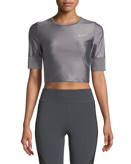 Short-Sleeve Crewneck Crop Running Top