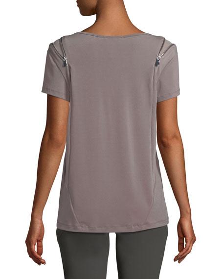 Zoey Short-Sleeve Zip-Shoulder Tee
